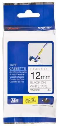 Лента для печати наклеек Brother TZe-FX231 Black on white 12 мм