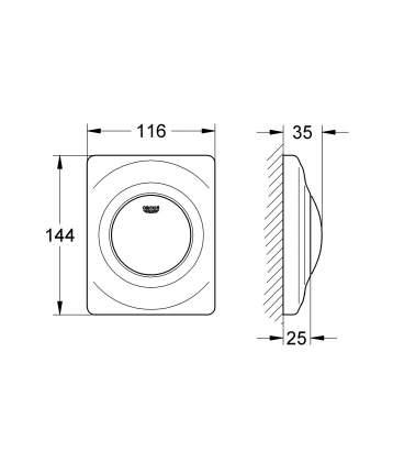 Накладная панель для писсуара Grohe Surf 38808000