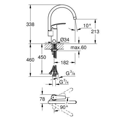 Смеситель для кухонной мойки Grohe DN 15 30262001 хром