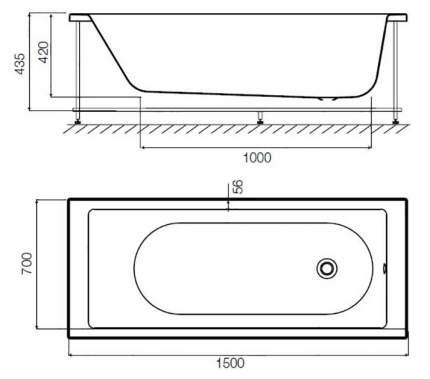 Акриловая ванна AM.PM Sense 150х70 без гидромассажа