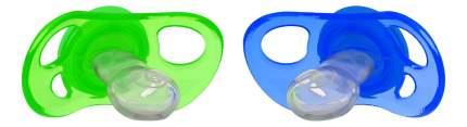 Пустышка силиконовая С 6 мес сине-зелёная 2 шт. Twistshake