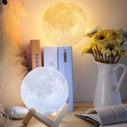 Ночник светильник настольный Луна 15 см с кнопками управления