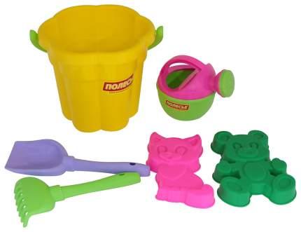 Набор для игры в песочнице Полесье №166 Ведро, лопатка, грабельки, формочки, лейка