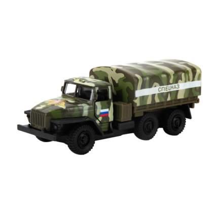 УРАЛ инерционный, металлический Технопарк военный, с пушкой на прицепе и фигурками в кор