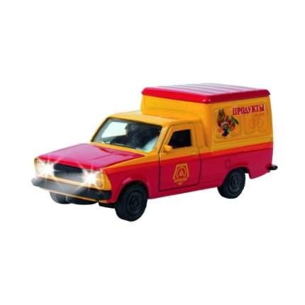 Машина Технопарк инерционная, металлическая фургон продукты 1:43, со светом и звуком,