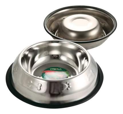 Одинарная миска для собак Triol, резина, сталь, серебристый, 0.2 л