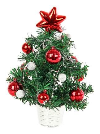 Ель искусственная Вельт декоративная с красными и серебряными украшениями 30 см