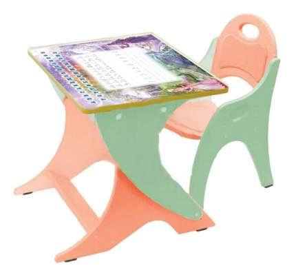 Комплект детской мебели ИНТЕХПРОЕКТ Парта и стульчик эквалипт-оранж Зима-Лето