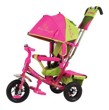 Велосипед трехколесный Beauty розово-зеленый с надувыми колесами