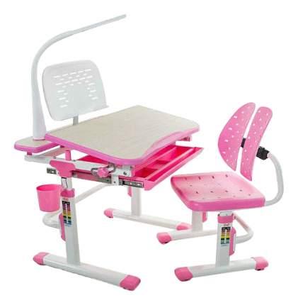 Комплект детской мебели Mealux Парта и стул EVO-05 с лампой розовый