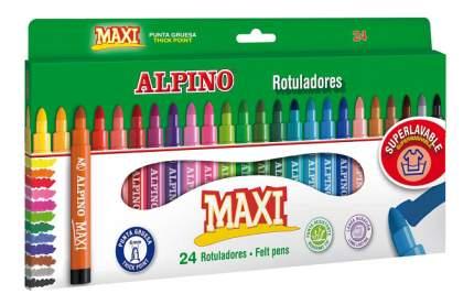 Фломастеры Alpino Maxi в утолщённом корпусе с толстым стержнем 6 мм 24 цвета