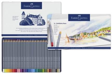 Акварельные карандаши Faber-Castell Goldfaber Aqua в металлической коробке, 36 шт