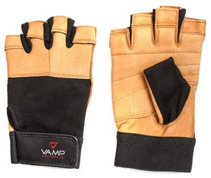 Перчатки для тяжелой атлетики и фитнеса VAMP 530, коричневые, M