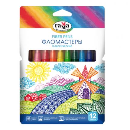 Фломастеры ГАММА Классические 12 цветов, картонная коробка 180319_11