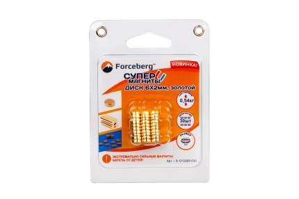 Неодимовый магнит Forceberg диск 6х2 мм, золотой, 30шт