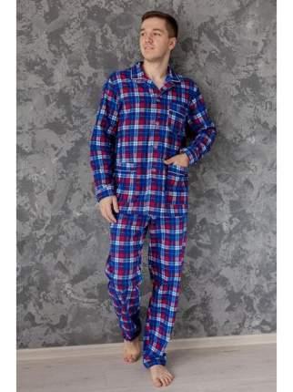 Мужская пижама из фланели LikaDress 5724 синяя, р.48