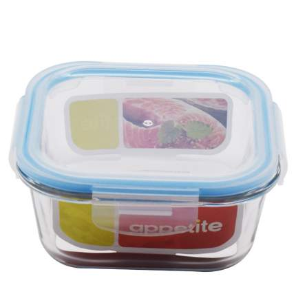 Контейнер стеклянный квадратный 520мл син ТМ Appetite