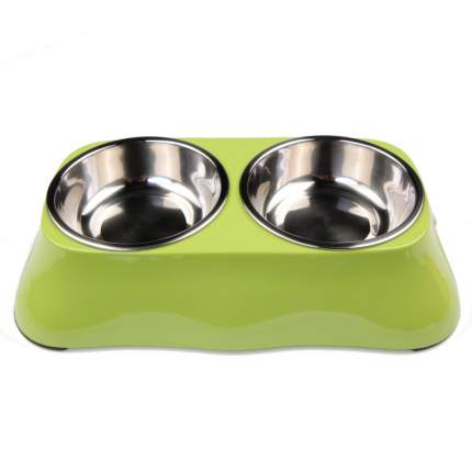 Миска для домашних животных Bobo, двойная, зеленая, 150+150 мл