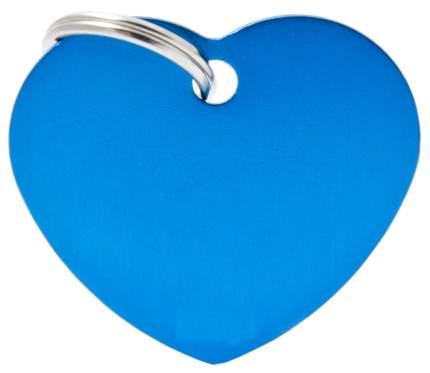 Адресник My Family Basic алюминиевый в форме сердца для кошек и собак (4 см, Синий)