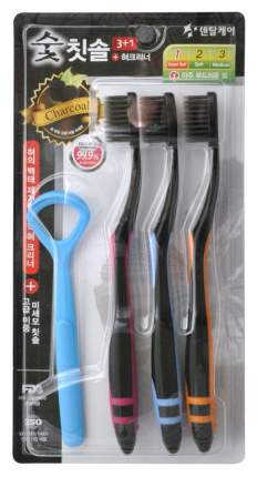 Набор: зубная щетка DENTAL CARE c древесным углем 3 шт+скребок для языка