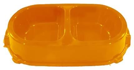 Двойная миска для кошек и собак FAVORITE, пластик, оранжевый, 2 шт по 0.225 л