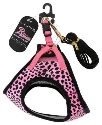 Шлейка для кошек Premium Pet Japan Анатомическая с поводком в наборе 25-33 см Розовый