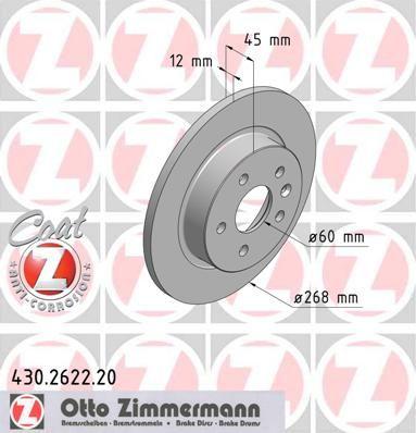 Тормозной диск ZIMMERMANN 430.2622.20