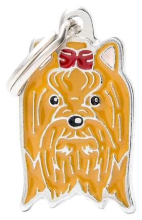Адресник на ошейник для собак My Family Colors Йоркширский терьер, средний, 2х2,9 см