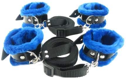 Набор для фиксации на кровати BDSM Арсенал BDSM Light с синим мехом