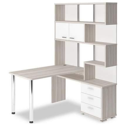 Компьютерный стол Мэрдэс Домино СР-420/130 MER_SR-420_130_KBEK-PRAV, белый жемчуг/карамель