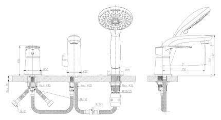 Смеситель для ванны на борт Rossinka Silvermix T40-39 хром