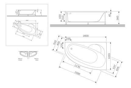 Акриловая ванна AM.PM Bliss L Square Slide 160х105 без гидромассажа