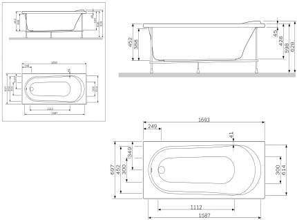 Экран для ванны AM.PM Joy/Spirit 170 см W85A-170-070W-P