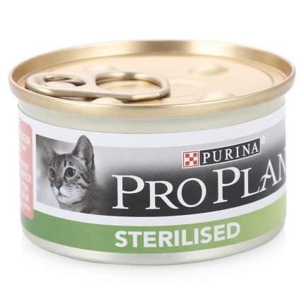 Консервы для кошек PRO PLAN Sterilised, лосось, тунец, 24шт, 85г