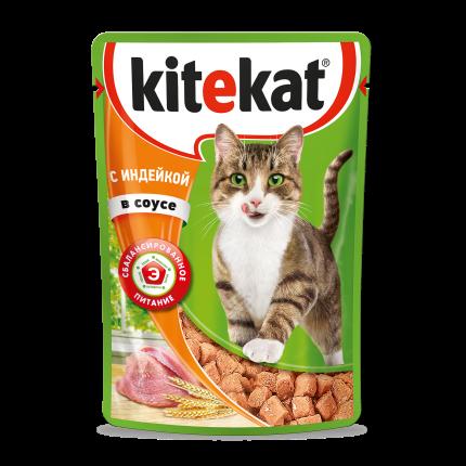 Влажный корм для кошек Kitekat, с индейкой в соусе, 85г