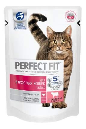 Влажный корм для кошек Perfect Fit Adult с говядиной в соусе, 85 г, 24 шт.