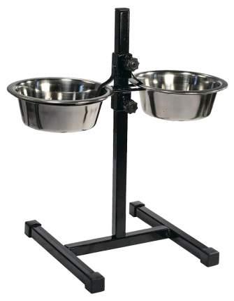 Двойная миска для собак Дарэлл, сталь, серебристый, черный, 2 шт по 0.35 л