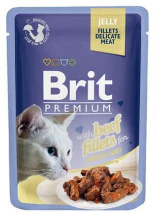 Влажный корм для кошек Brit Premium, говядина, в желе, 24шт, 85г