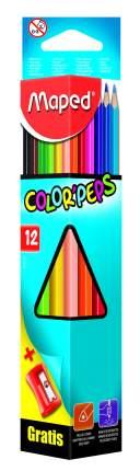 Карандаши цветные COLOR'PEPS треугольные 12 цветов+точилка MAPED