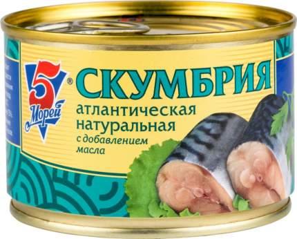 Скумбрия атлантическая натуральная 5 Морей с добавлением масла 250 г