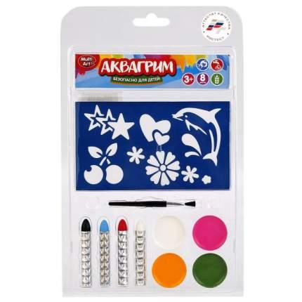 Аквагрим MultiArt 4 цв, краски масл, осн, кисточка, 4 карандаша, трафареты