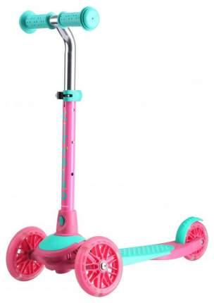 Самокат трехколесный TechTeam City Bird детский Розовый со светящимися колесами