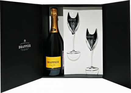 Drappier Carte d'Or Brut Champagne AOP in gift box with two glasses