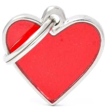 Светоотражающий адресник My Family Reflective Сердце, маленький, цвет: красный
