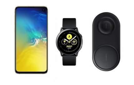 Смартфон Samsung Galaxy S10e 128Gb Citrus+часы Watch Active+беспроводная зарядка EP-P5200