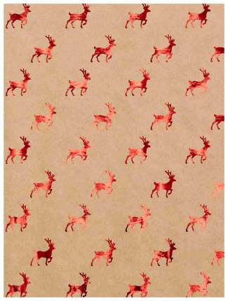 """Бумага крафт """"Красные олени"""", 60 г/м2, 100х70 см"""