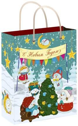 """Пакет подарочный """"Снеговики с елочкой"""", 26х32,4х12,7 см"""