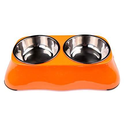 Миска для домашних животных Bobo, двойная, оранжевая, 150+150 мл
