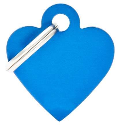 Адресник My Family Basic алюминиевый в форме сердца для животных (2,5 см, Синий)