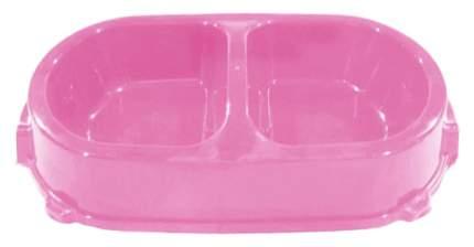 Двойная миска для кошек и собак FAVORITE, пластик, розовый, 2 шт по 0.225 л